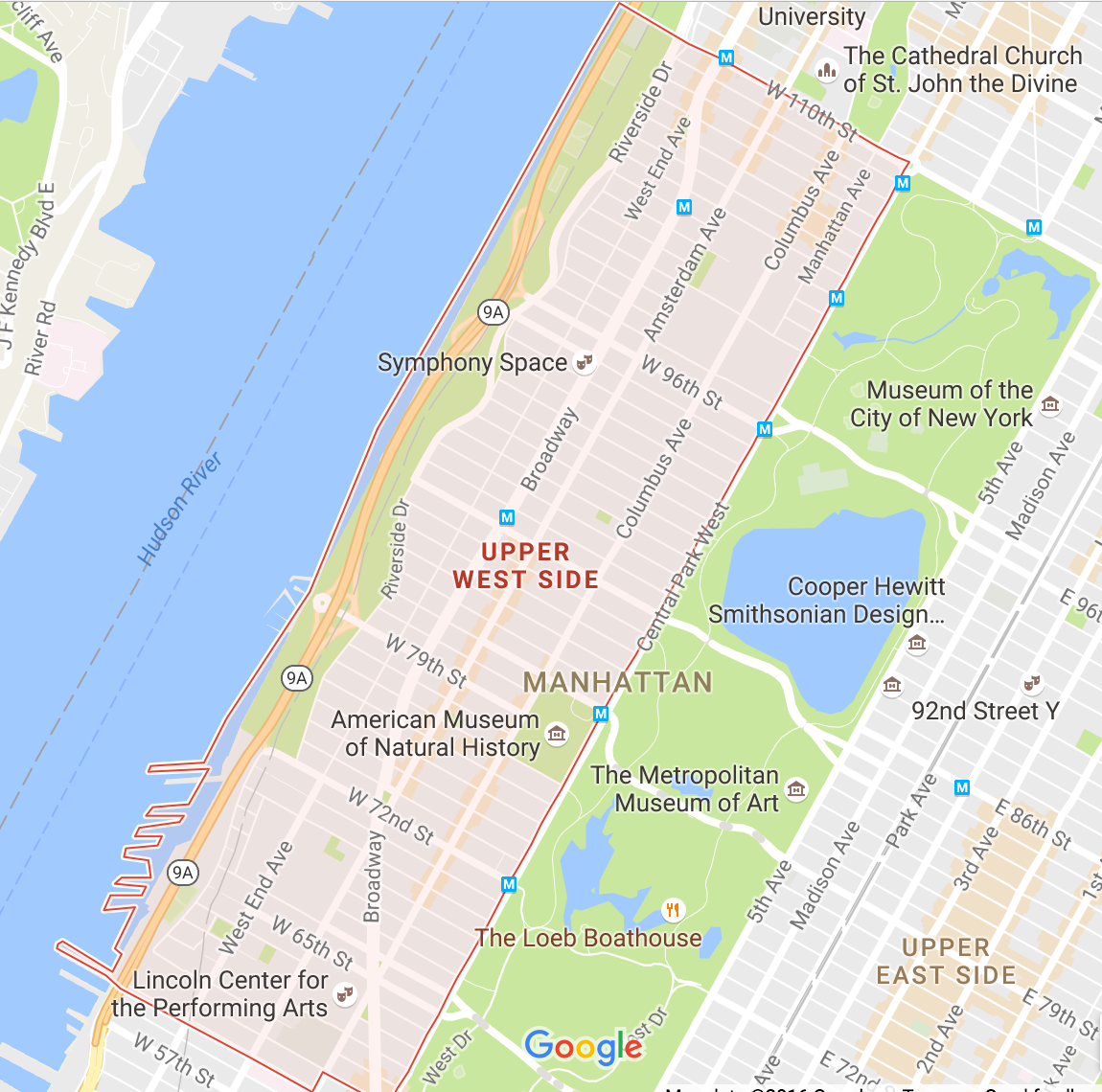 Map New York City Upper West Side Wall Hd 2018